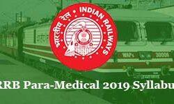 RRB Paramedical 2019 Syllabus