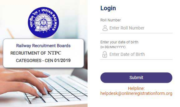 login details of rrb ntpc 2019 for download admit card