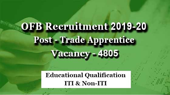ordnance factory trade apprentice recruitment 2019-20